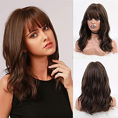 BOGSEA Short Wavy Wigs with Bangs Brown Wigs for Women Medium Shoulder Length Wig Women's Costume Wigs for Cosplay Daily Wear